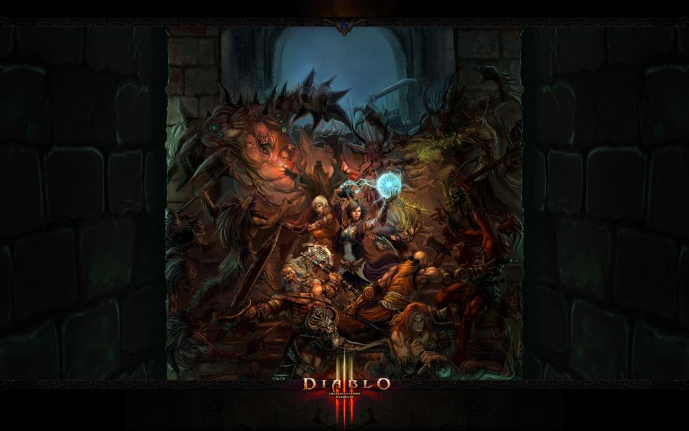 Обои Diablo III: Рунный узор и Кровавая битва